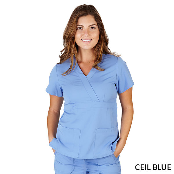 A photo of ceil blue ultrasoft 2 pockets mock wrap scrub top