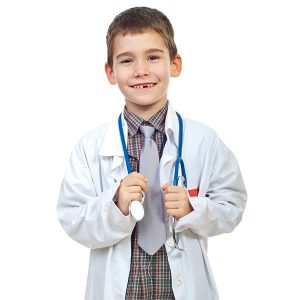 A photo of white children's lab coat