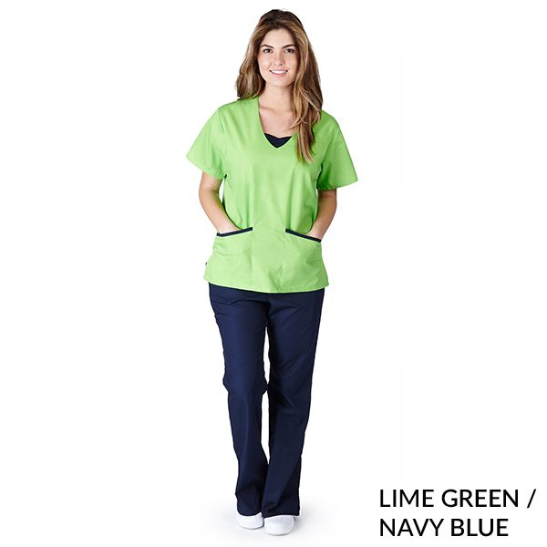 A photo of lime green / navy blue contrast jersey sets