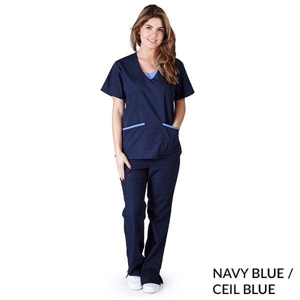 A photo of navy blue/ceil blue contrast jersey sets