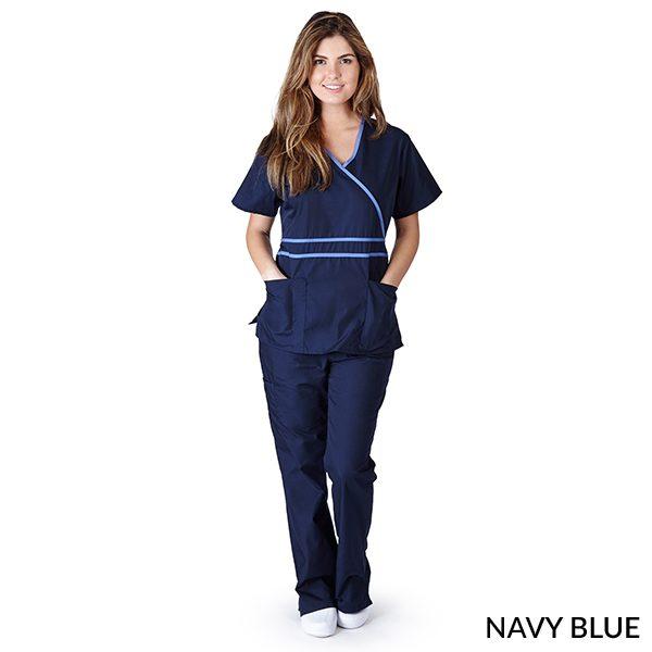 A photo of navy blue contrast mock sets