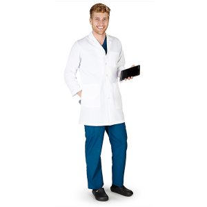 A photo of men's lab coat with ipad pocket