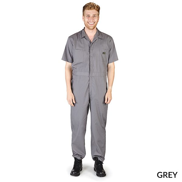 A photo of grey men's short sleeve coveralls
