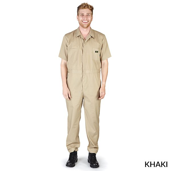 A photo of khaki men's short sleeve coveralls