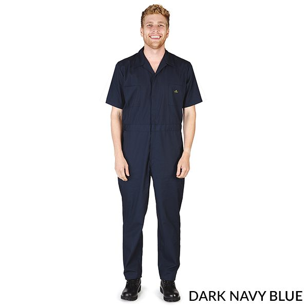 A photo of dark navy blue men's short sleeve coveralls