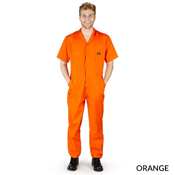 A photo of orange men's short sleeve coveralls
