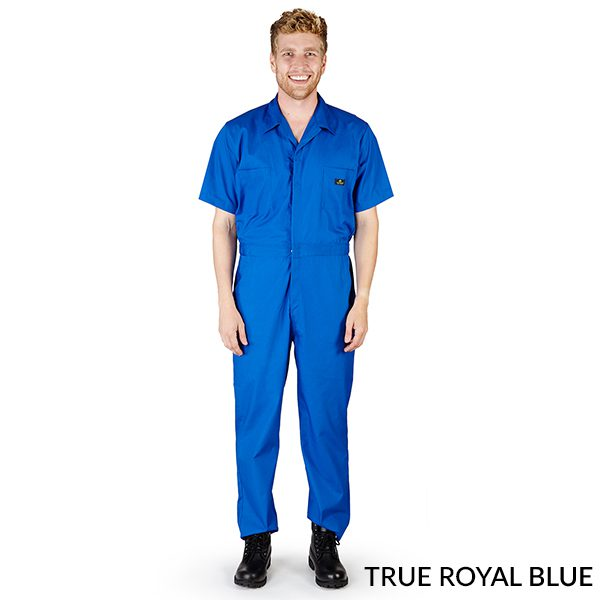 A photo of true royal blue men's short sleeve coveralls