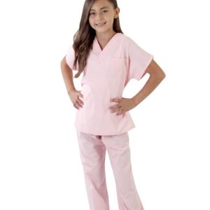 A photo of pink children's scrub sets