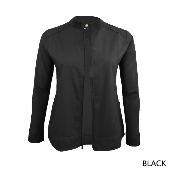 A photo of black women's soft stretch front zip warm up scrub jacket