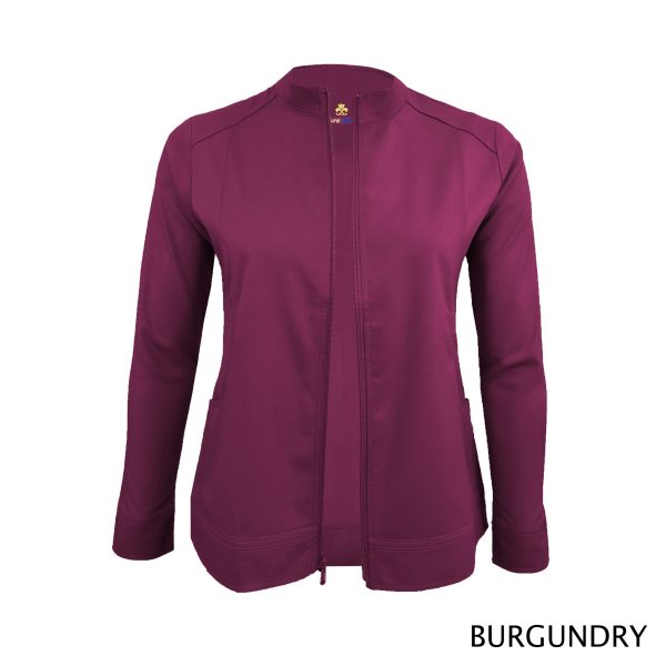 A photo of burgundy women's soft stretch front zip warm up scrub jacket