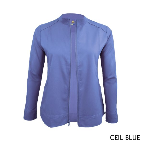 A photo of ceil blue women's soft stretch front zip warm up scrub jacket
