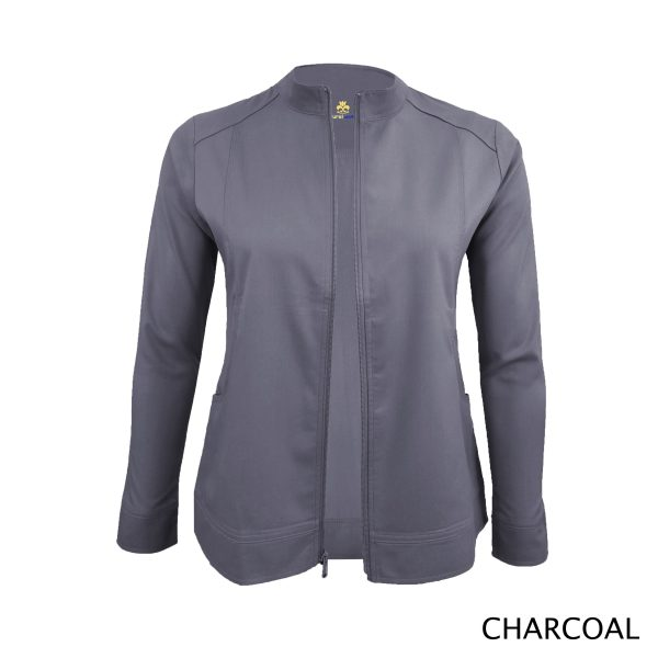 A photo of charcoal women's soft stretch front zip warm up scrub jacket