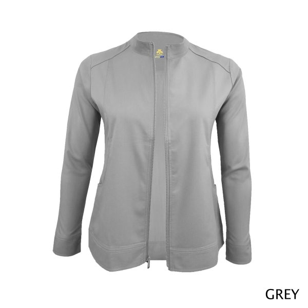 A photo of gray women's soft stretch front zip warm up scrub jacket