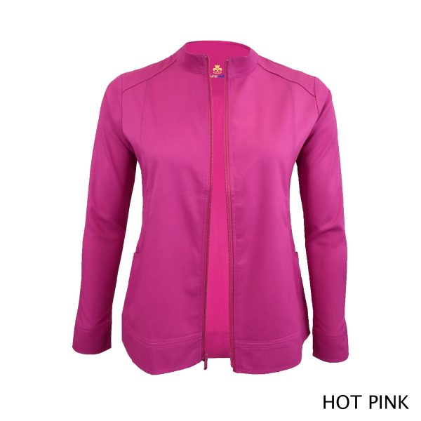 A photo of hot pink women's soft stretch front zip warm up scrub jacket