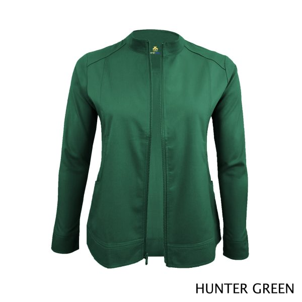 A photo of hunter green women's soft stretch front zip warm up scrub jacket