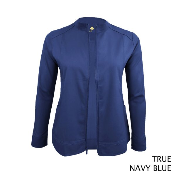 A photo of true navy blue women's soft stretch front zip warm up scrub jacket