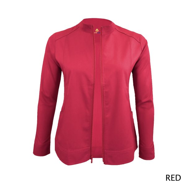 A photo of red women's soft stretch front zip warm up scrub jacket