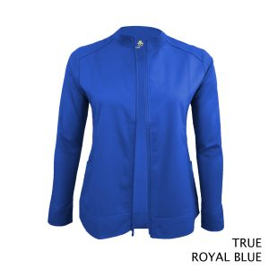 A photo of true royal blue women's soft stretch front zip warm up scrub jacket (back)