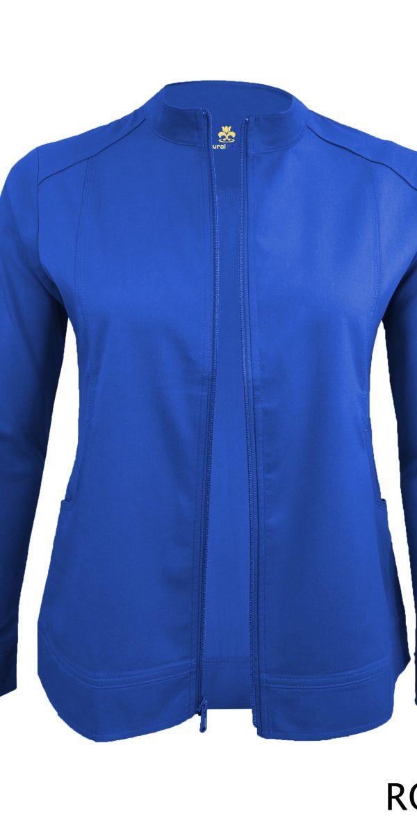 A photo of true royal blue women's soft stretch front zip warm up scrub jacket (back)