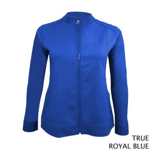 A photo of true royal blue women's soft stretch front zip warm up scrub jacket (front)