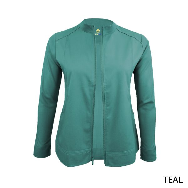A photo of teal women's soft stretch front zip warm up scrub jacket