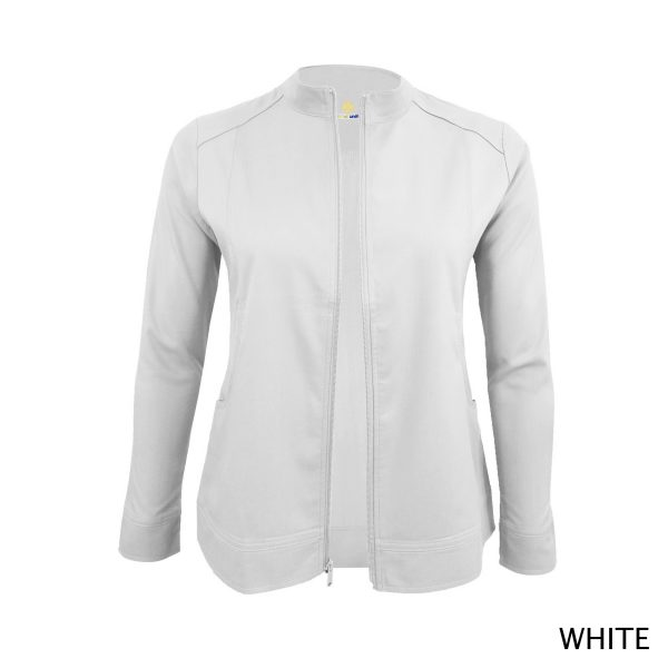 A photo of white women's soft stretch front zip warm up scrub jacket