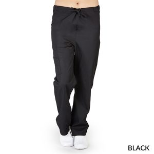 A photo of black drawstring cargo pants