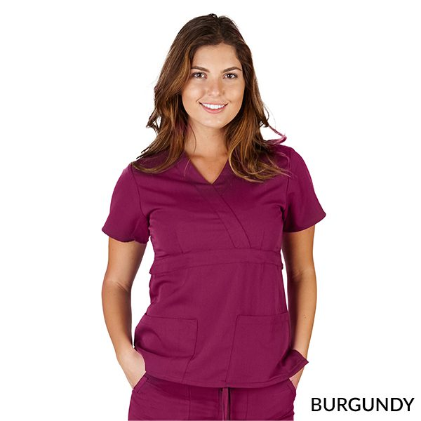 A photo of burgundy ultrasoft 2 pockets mock wrap scrub top