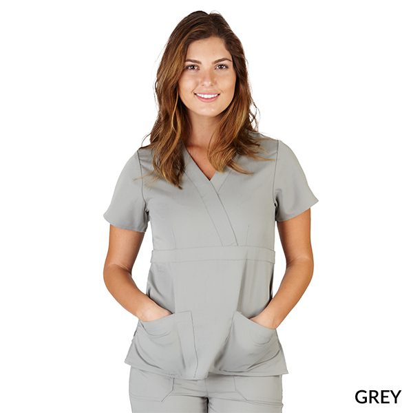 A photo of grey ultrasoft 2 pockets mock wrap scrub top
