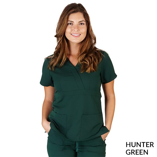A photo of hunter green ultrasoft 2 pockets mock wrap scrub top