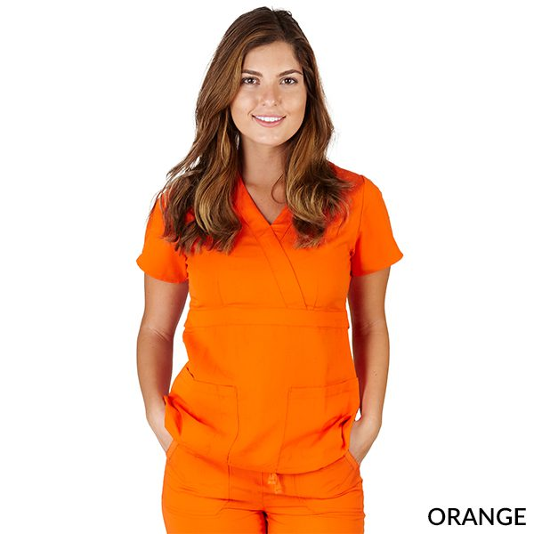 A photo of orange ultrasoft 2 pockets mock wrap scrub top