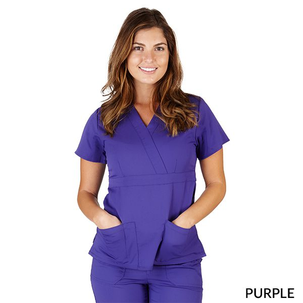 A photo of purple ultrasoft 2 pockets mock wrap scrub top