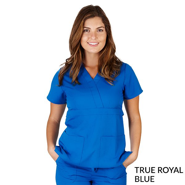 A photo of true royal blue ultrasoft 2 pockets mock wrap scrub top