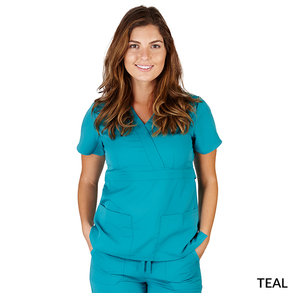 A photo of teal ultrasoft 2 pockets mock wrap scrub top