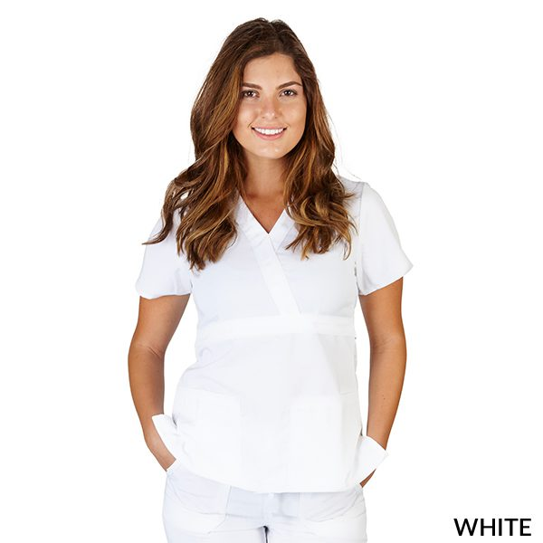 A photo of white ultrasoft 2 pockets mock wrap scrub top