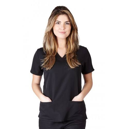A photo of black ultra soft 2 pocket scrub top (front)