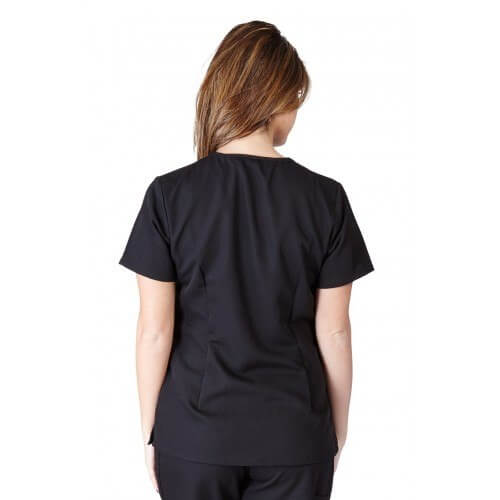 A photo of black ultra soft 2 pocket scrub top (back)