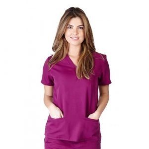 A photo of burgundy ultra soft 2 pocket scrub top (front)