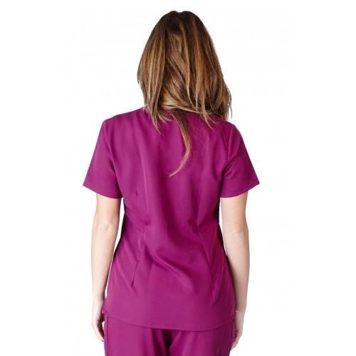 A photo of burgundy ultra soft 2 pocket scrub top (back)