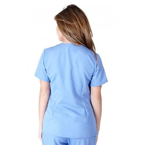 A photo of ceil blue ultra soft 2 pocket scrub top (back)