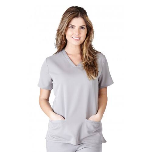 A photo of grey ultra soft 2 pocket scrub top (front)