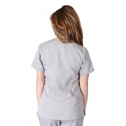 A photo of grey ultra soft 2 pockets scrub top (back)