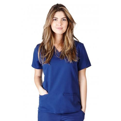 A photo of true navy blue ultra soft 2 pockets scrub top (front)