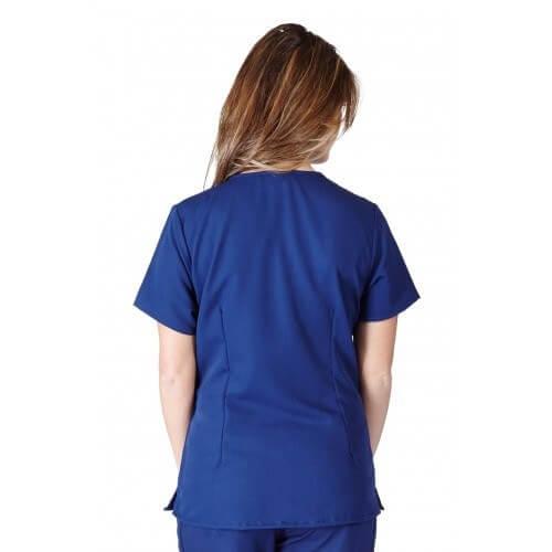 A photo of true navy blue ultra soft 2 pockets scrub top (back)