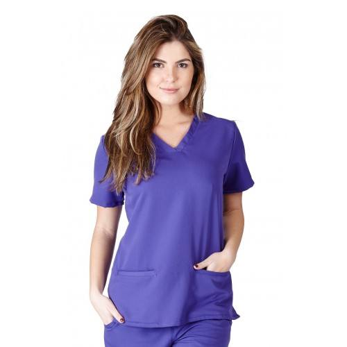 A photo of purple ultra soft 2 pockets scrub top (front)