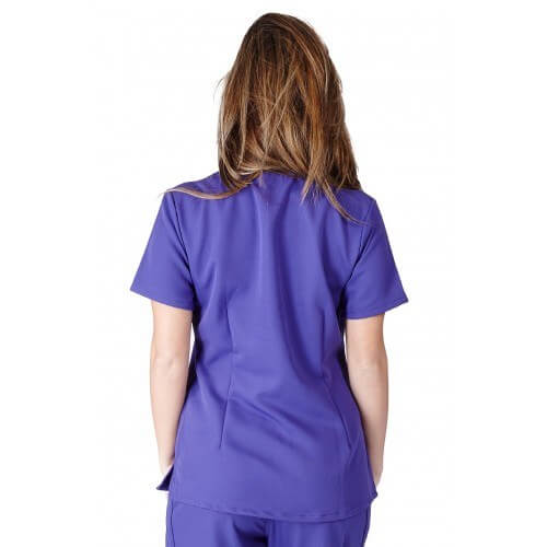 A photo of purple ultra soft 2 pockets scrub top (back)