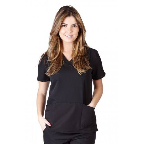 A photo of black ultra soft fashion scrub top (front)