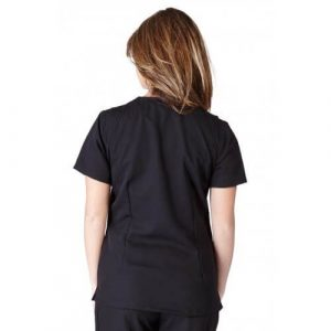 A photo of black ultra soft fashion scrub top (back)