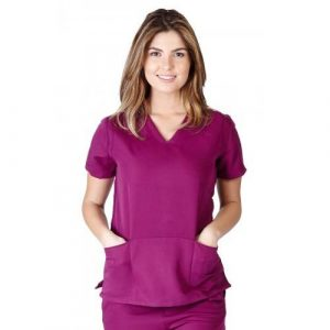 A photo of burgundy ultra soft fashion scrub top (front)