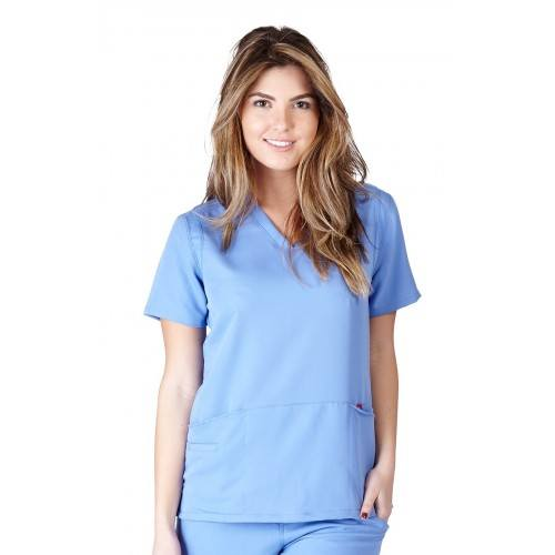 A photo of ceil blue ultra soft fashion scrub top (front)